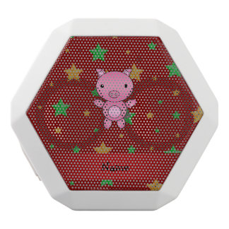 Personalized name pig red green gold stars white boombot rex bluetooth speaker