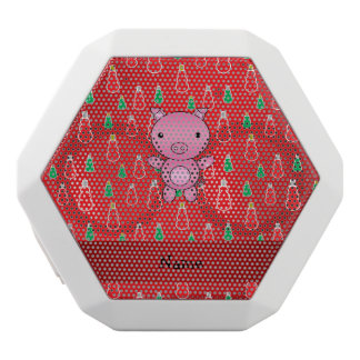 Personalized name pig red snowman pattern white boombot rex bluetooth speaker