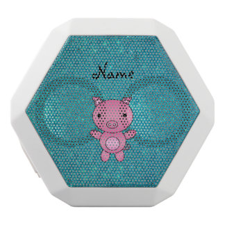 Personalized name pig turquoise glitter white boombot rex bluetooth speaker