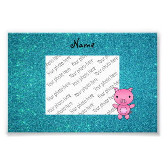 Personalized name pig turquoise glitter photo art