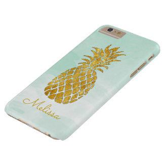 personalized name pineapple on watercolor mint barely there iPhone 6 plus case