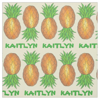 Personalized Name Pineapple Pineapples Fabric