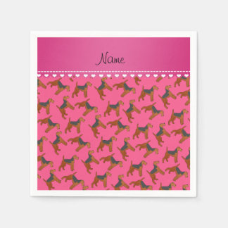 Personalized name pink airedale terriers dogs disposable napkin