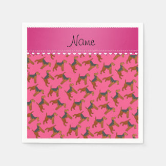 Personalized name pink airedale terriers dogs disposable serviette