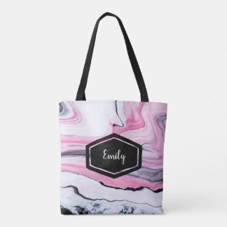Personalized name pink and black marble tote bag
