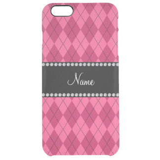 Personalized name Pink argyle Clear iPhone 6 Plus Case