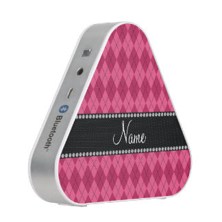 Personalized name Pink argyle Bluetooth Speaker