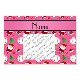 Personalized name pink baseball christmas photograph