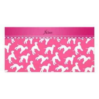 Personalized name pink bedlington terrier dogs customized photo card