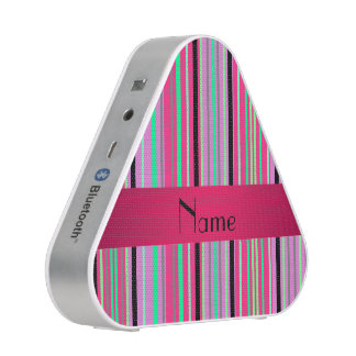 Personalized name pink black and green stripes