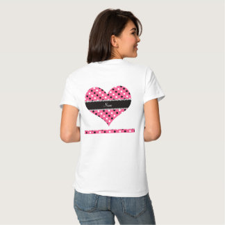 Personalized name pink black white polka dots tee shirts