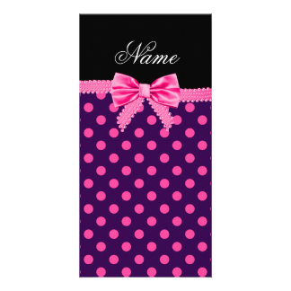 Personalized name pink bow purple pink dots photo card
