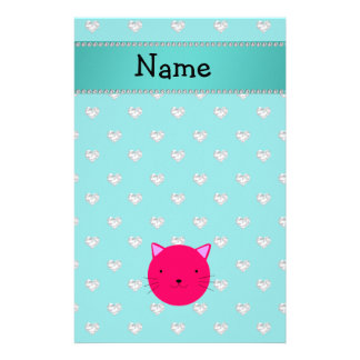 Personalized name pink cat face turquoise diamonds stationery