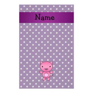 Personalized name pink cat purple diamonds stationery