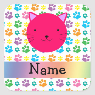 Personalized name pink cat rainbow paws square sticker