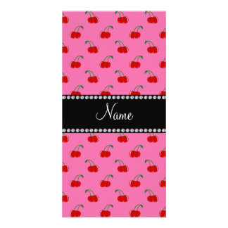 Personalized name pink cherry pattern photo greeting card