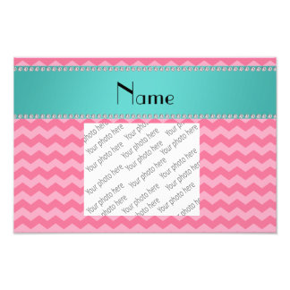 Personalized name pink chevrons turquoise stripe art photo