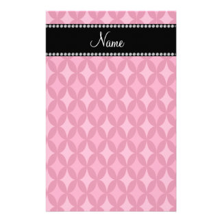 Personalized name pink circle diamond stationery design