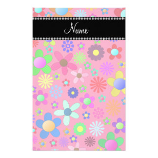 Personalized name pink colorful retro flowers stationery