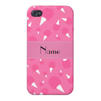 Personalized name pink cotton candy cover for iPhone 4