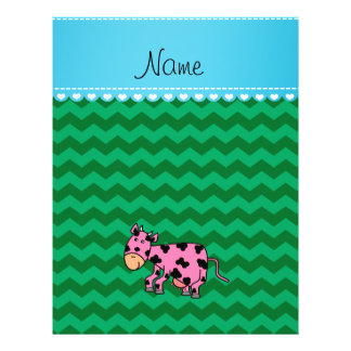 Personalized name pink cow green chevrons flyers