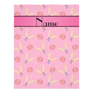 Personalized name pink cricket pattern 21.5 cm x 28 cm flyer