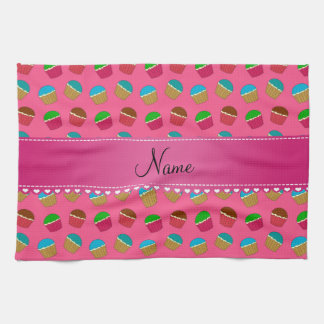 Personalized name pink cupcake pattern towel