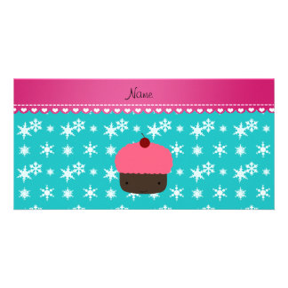 Personalized name pink cupcake turquoise snowflake personalized photo card
