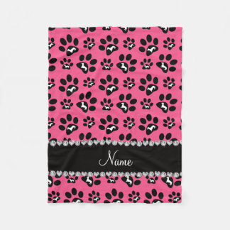 Personalized name pink dachshunds dog paws fleece blanket