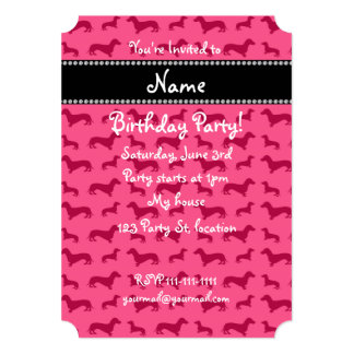 Personalized name pink dachshunds announcements