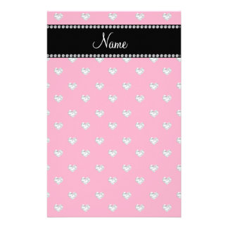 Personalized name pink diamond hearts personalized stationery