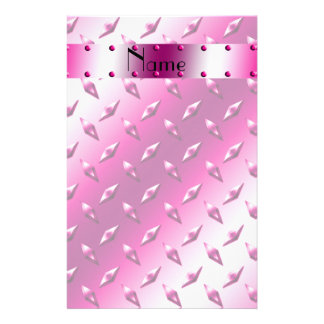 Personalized name pink diamond plate steel customized stationery