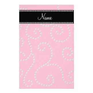 Personalized name pink diamond swirls stationery