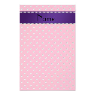 Personalized name pink diamonds personalised stationery