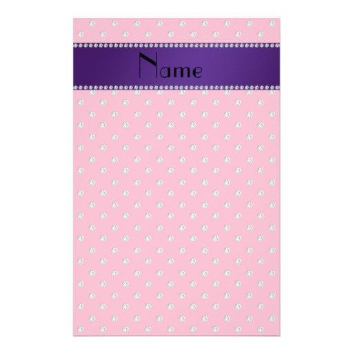Personalized name pink diamonds stationery design