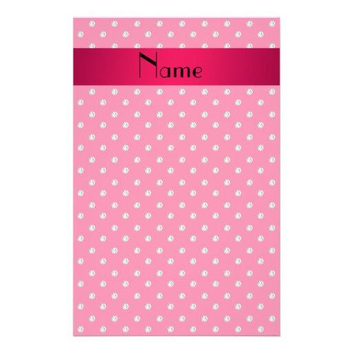 Personalized name pink diamonds customized stationery