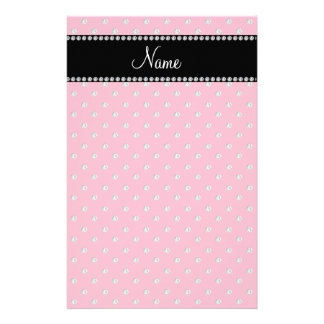 Personalized name pink diamonds stationery paper