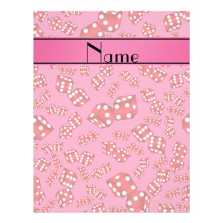 Personalized name pink dice pattern 21.5 cm x 28 cm flyer