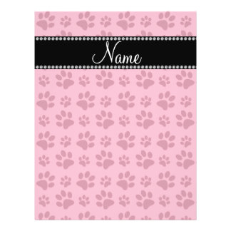 Personalized name pink dog paw prints flyer design