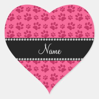 Personalized name pink dog paw prints sticker