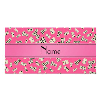 Personalized name pink dominos photo card template