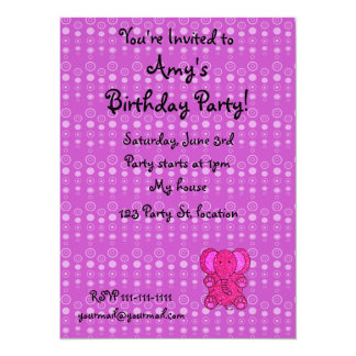 "Personalized name pink elephant purple bubbles 5.5"" x 7.5"" invitation card"