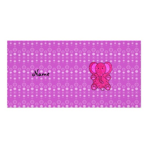 Personalized name pink elephant purple bubbles picture card