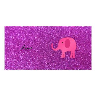 Personalized name pink elephant purple glitter custom photo card
