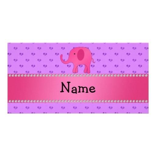 Personalized name pink elephant purple hearts custom photo card
