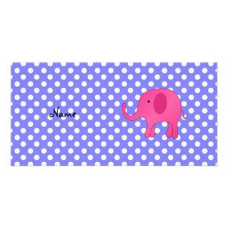Personalized name pink elephant purple polka dots customized photo card