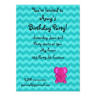 Personalized name pink elephant turquoise chevrons custom invitation