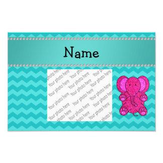 Personalized name pink elephant turquoise chevrons photo