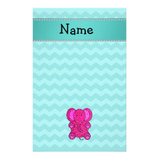 Personalized name pink elephant turquoise chevrons stationery