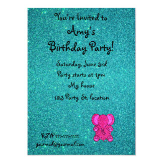 Personalized name pink elephant turquoise glitter 5.5x7.5 paper invitation card